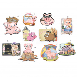 Souvenir magnet 70 ~ 80x50 mm MDF Assorted pigs