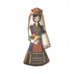 Жена с народна носия от шперплат 70x30x2 мм -5 броя