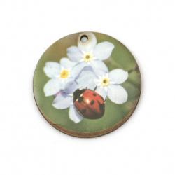 Висулка кръг с калинка и цветя от шперплат 35x2 мм дупка 2 мм -10 броя