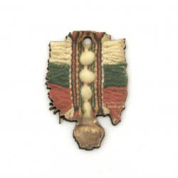 Висулка хлопка от шперплат 35x22x2 мм дупка 2 мм -10 броя