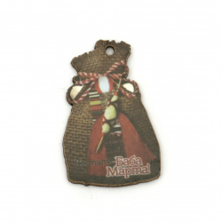 "Plywood pendant bag with print of martenitsa, spindle and inscription ""Happy Baba Marta"" 40x25x2 mm hole 2 mm - 10 pieces"