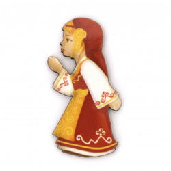 Висулка момиче с народна носия от шперплат 40x20x2 мм дупка 2 мм -10 броя