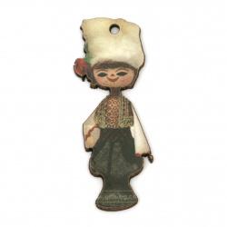 Висулка момче с народна носия от шперплат 50x18x2 мм дупка 2 мм -10 броя
