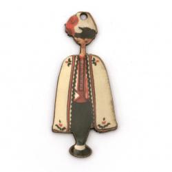 Висулка момче с народна носия от шперплат 50x20x2 мм дупка 2 мм -10 броя