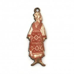 Pandantiv femeie cu costum popular din placaj 43x15x2 mm gaura 2 mm -10 bucăți