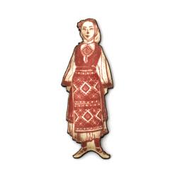 Висулка жена с народна носия от шперплат 43x15x2 мм дупка 2 мм -10 броя