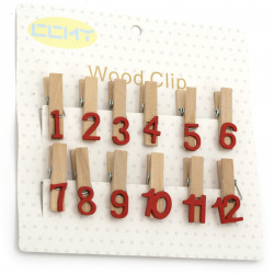 Wooden clips 9x35 mm with numbers - 12 pieces