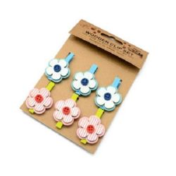 Wooden Clothespins for Decoration  48x7 mm flower wood and felt 33x34 mm -6 pieces