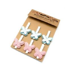Delicate wooden clips with butterfly from  wood and felt 48x7 mm  27x35 mm - 6 pieces