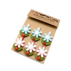 Wooden Clamps for Decoration 48x7 mm flower tree and felt 43x33 mm -6 pieces