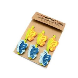 Wooden Clothespins for Decoration  48x7 mm butterfly felt 45x32 mm -6 pieces