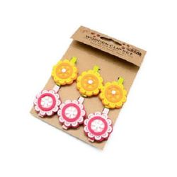 Wooden Clothespins for Decoration  48x7 mm flower felt 38x37 mm -6 pieces
