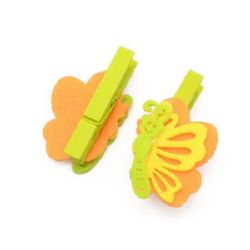 Vivid wooden clip 48x7 mm with felt butterfly 45x32 mm - 3 pieces