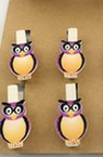 Wooden clips with small owl 35x7 mm 33x2 mm - 6 pieces