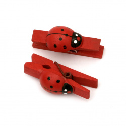 Wooden Clothespins for Decoration  7x36 mm with ladybug red -20 pieces