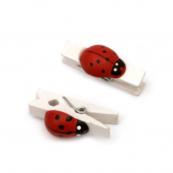 Wooden Decorative Clamps 7x36 mm with ladybird white -20 pieces
