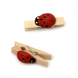 Wooden Decorative Clamps 7x36 mm with ladybug color wood -20 pieces