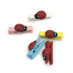 Wooden Decorative Clamps 7x36 mm with ladybug MIX -20 pieces
