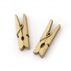 Wooden clips for party decoration 7x35 mm gold color - 25 pieces