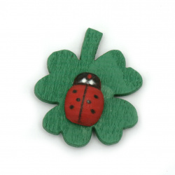 Wooden clover with ladybugs with glue tape 25x27 mm -20 pieces