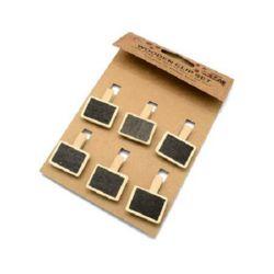 Μανταλάκια, ξύλινα 35x7 mm με μαυροπίνακα 22x28 mm -6 τεμάχια
