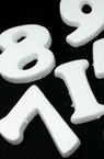 Styrofoam Numbers from 1 to 10 100 x 100mm , White, DIY Decoration