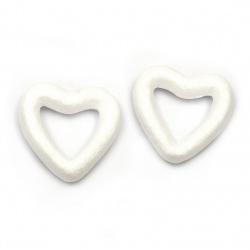 Styrofoam heart 49x50x12 mm for decoration -5 pieces