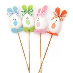 Styrofoam Egg rabbit 95x43 mm on a stick 340 mm MIX