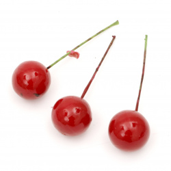 Nuiele artificiale 20 mm cu bază de sârmă roșu -20 bucăți