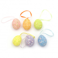 Styrofoam egg for decoration 40x30 mm for hanging MIX -12 pieces
