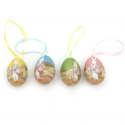 Styrofoam egg for decoration 37x26 mm for hanging MIX -12 pieces