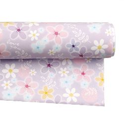 DIY Wrapping Paper  Light Purple with Flowers 51x77 cm