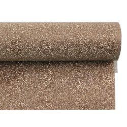 Хартия опаковъчна 700x500 мм двулицева с брокат цвят сребро/кафяво светло