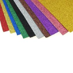 EVA материал /микропореста гума/ 2 мм А4 20x30 см с брокат АСОРТЕ цветове -10 листа