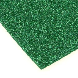 EVA / αφρώδες υλικό 2 mm A4 20x30 cm πράσινο με χρυσόσκονη