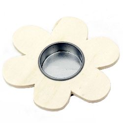 Suport lumânare floare de lemn 110 mm alb