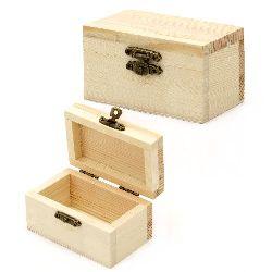Кутия дървена 90x55x50 мм тъмна закопчалка
