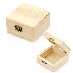 Cutie pătrat din lemn de fixare metalică 80x80x45 mm