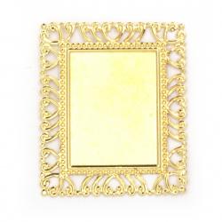 Основа за декорация метална 60x50 мм цвят злато -10 броя