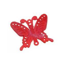 Висулка свързващ елемент пеперуда 45x56 мм червена меланж
