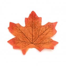 Maple leaf textile 80x70 mm orange - 20 pieces