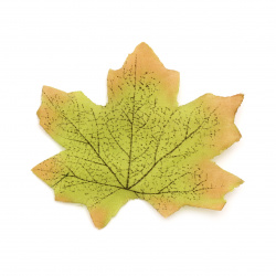 Maple Decorative Fabric Leaf 80x70 mm green -20 pieces