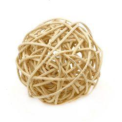 Rattan Ball, Wooden, Decoration, Craft Projects, Light 70 mm beige light