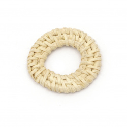 Decorative element washer rattan 38x5 mm hole 18 mm handmade color natural