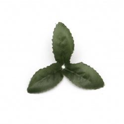 Листо текстил 65 мм зелено тъмно -4 грама ~  30 броя