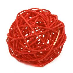 Rattan Ball, Wooden, Decoration, Craft Projects, DIY 70 mm red