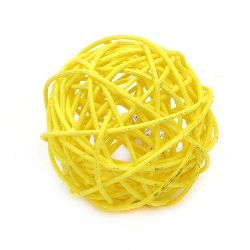 Rattan Ball, Wooden, Decoration, Craft Projects, DIY 70 mm yellow