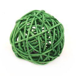 Ратанова топка дърво 70 мм зелена