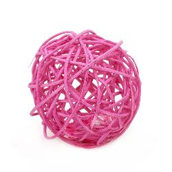 Rattan Ball, Wooden, Decoration, Craft Projects, DIY 70 mm pink