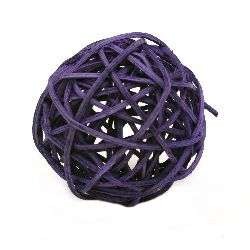 Rattan Ball, Wooden, Decoration, Craft Projects, DIY 70 mm purple